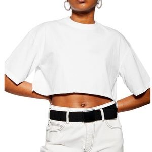 TopShop white cropped short sleeve boxy tee (L1/7)